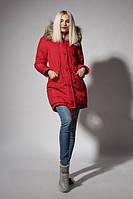Утепленная зимняя женская куртка цвета красный джинс