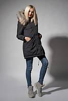 Утепленная зимняя женская куртка цвета черный джинс
