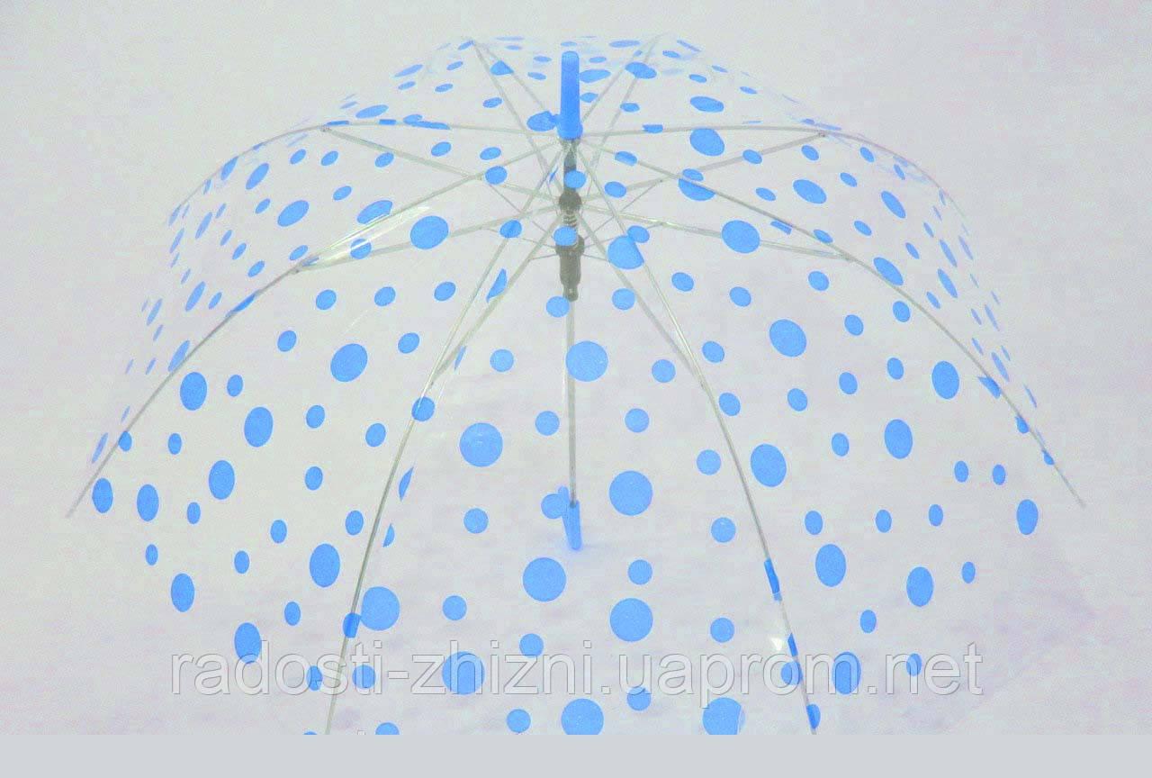 Зонт трость полуавтомат детский прозрачный купол