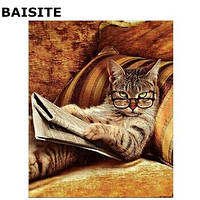 Живопись кот с газетой 40*50, читающий кот, коричневый рисование по номерам, картина