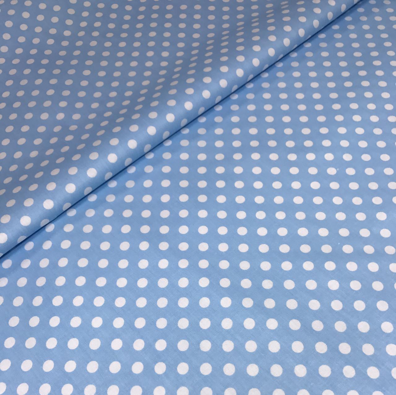 Хлопковая ткань горох белый на голубом 7 мм (КОРЕЯ) №299