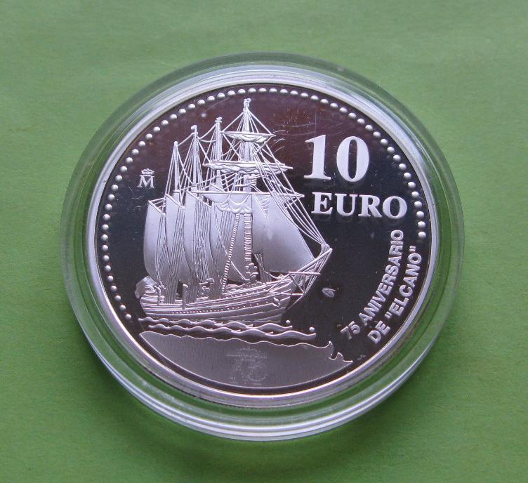 Испания 10 евро 2003 г. серебро Парусник