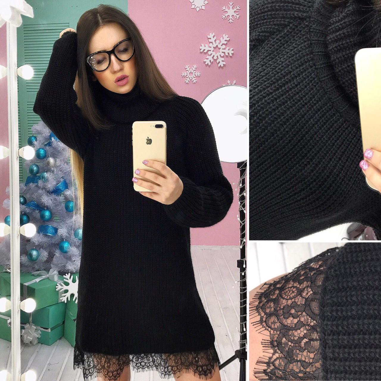 55b453eed42 Теплое вязаное платье с кружевом - Styleopt.com в Харькове