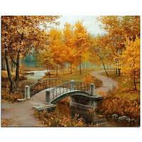 Живопись по номерам 40*50 Золотая осень, мост рисование по номерам , картина