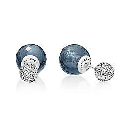 Серебряные cерьги «Синие мерцающие капли»