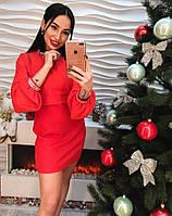 1d610340102 Женское красивое платье креп-шифон и органза с брошью только красное