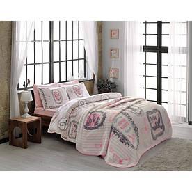 Набор постельного белья TAC ранфорс + плед - Camille pembe V1 полуторный