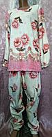 Женская махровая пижама с цветочным принтом 44-50 р, женские пижамы норма оптом от украинского производителя