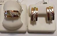 Серебряный комплект с золотом и прозрачным цирконом Арина