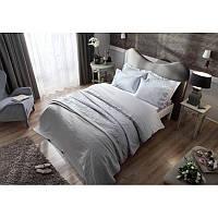 Набор постельное белье жаккардовый сатин с покрывалом и полотенцами Tac - Avon gri евро