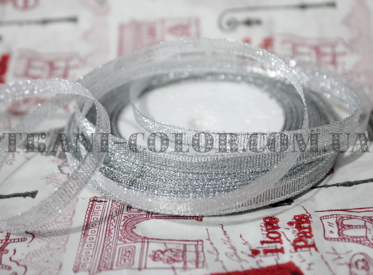 Лента парча 6мм серебро (23 метра)