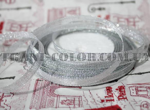 Лента парча 6мм серебро (23 метра), фото 2