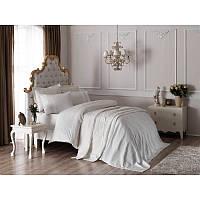 Набор постельное белье жаккардовый сатин с покрывалом и полотенцами Tac - Elena ekru евро