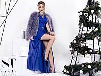Вечернее платье из кружева на атласе с съемной юбкой из шифона / 7 цветов арт 3115-98
