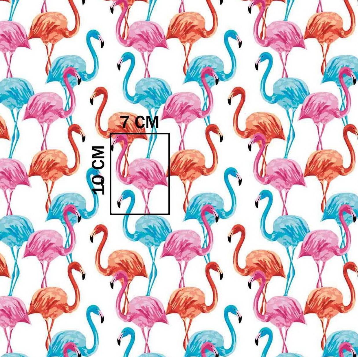 Хлопковая ткань польская фламинго разноцветные на белом №291