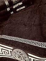 Махровое полотенце баня 70х140 Темно-коричневое 100% хлопок Узбекистан Версаче