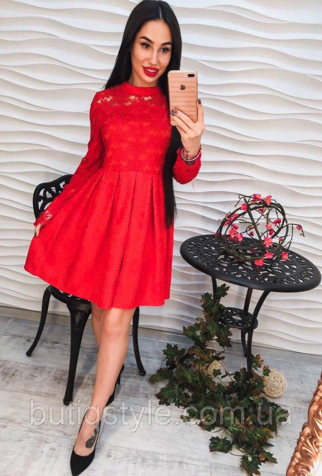 2a76955d7e2 Красивое красное кружевное платье жаккард -