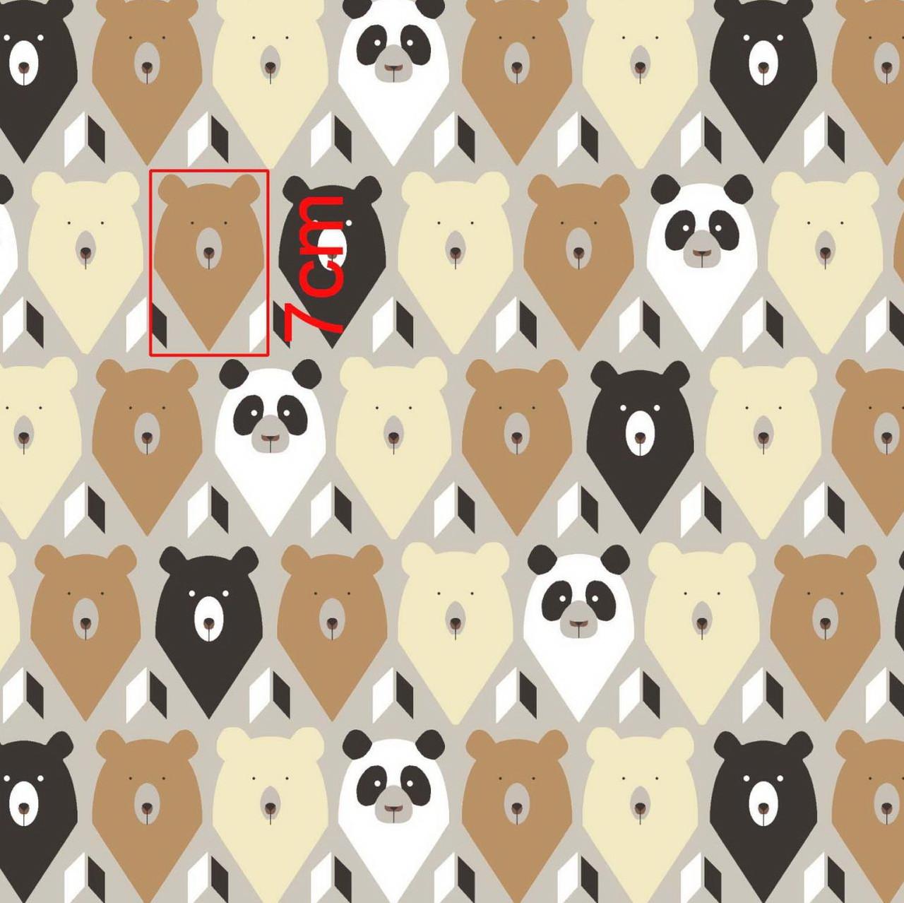 Хлопковая ткань польская мишки коричнево-бежевые с треугольниками №280