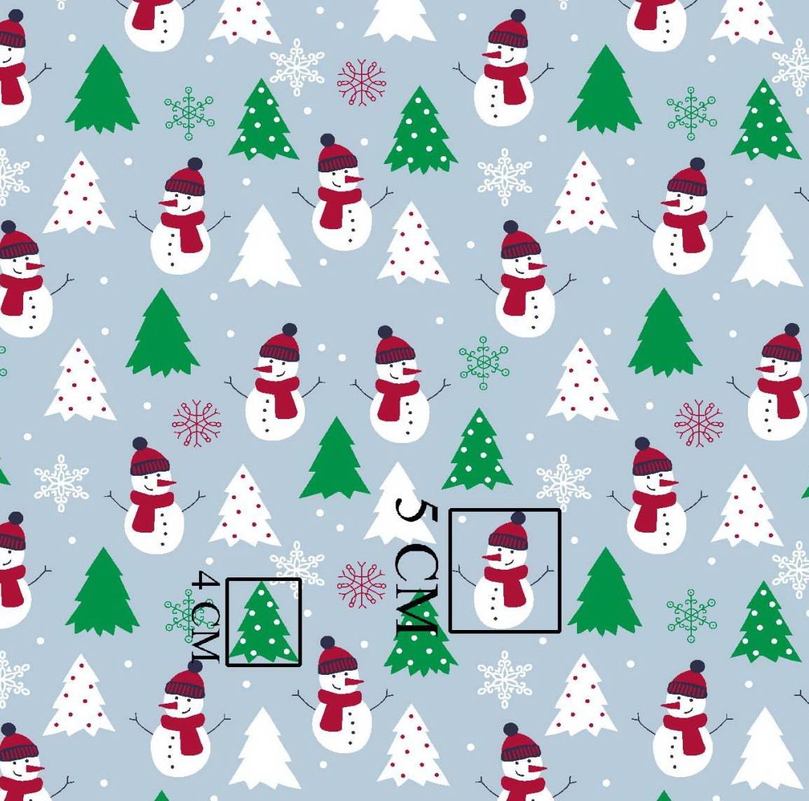 НОВОГОДНЯЯ хлопковая ткань польская снеговики с зелеными елками на серо-голубом №278