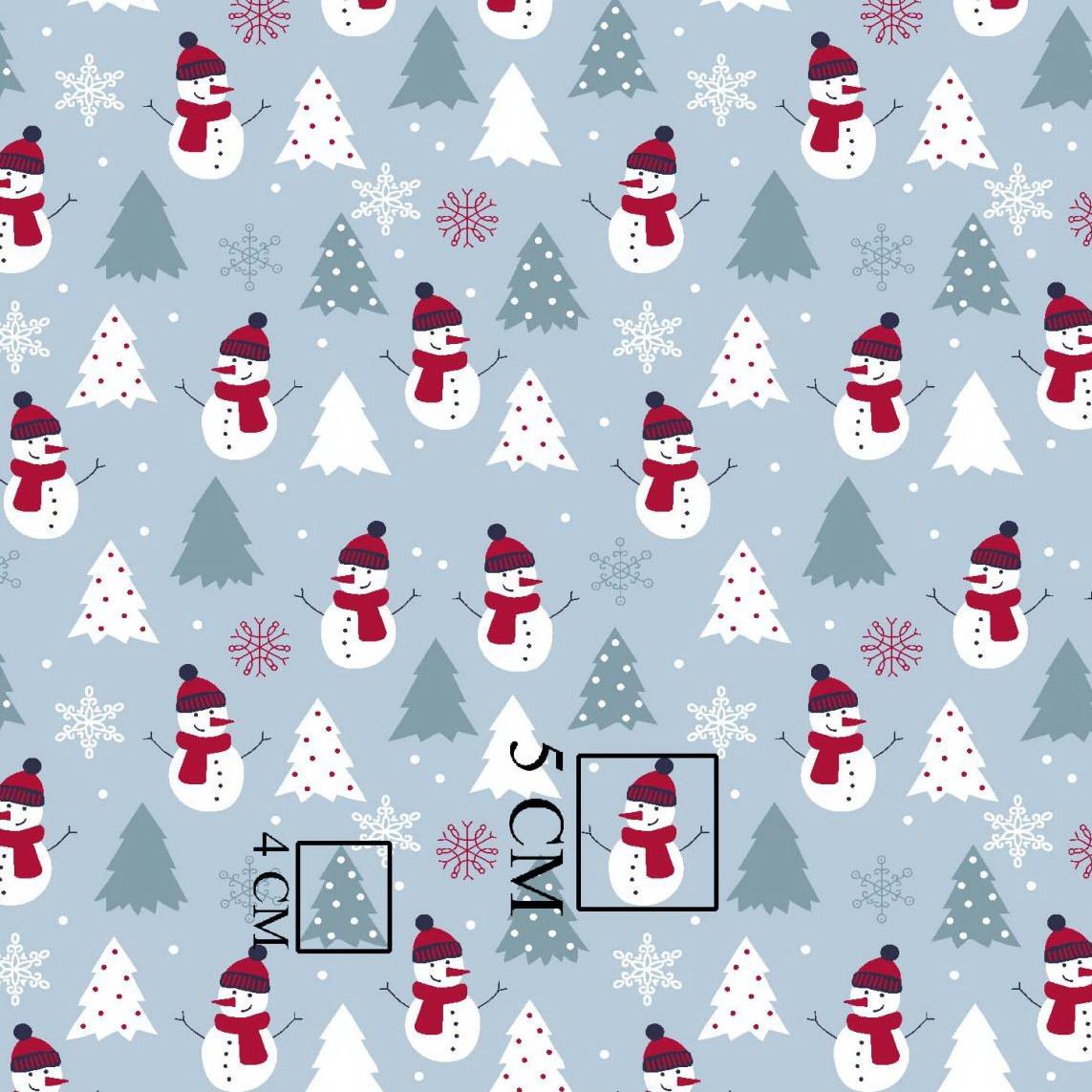 НОВОРІЧНА бавовняна тканина польська сніговики з сірими ялинками на сіро-блакитному №277