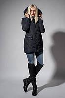 Молодежная зимняя женская куртка синего цвета
