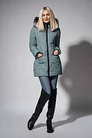 Стильная молодежная зимняя куртка оливкового цвета