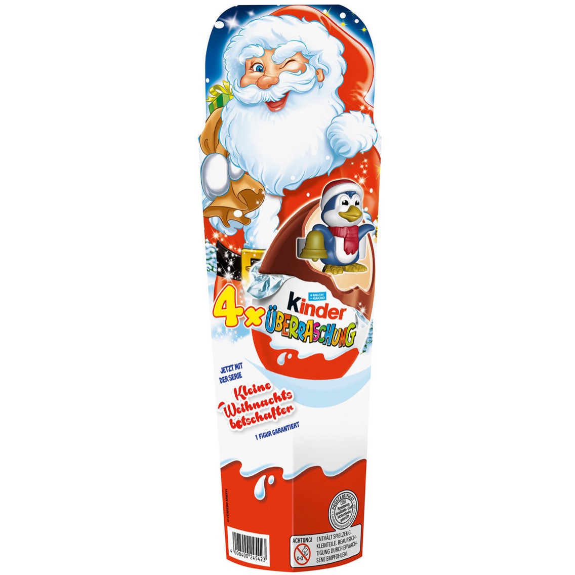 Новогодний Kinder Surprise в тубусе Kinder Niespodzianka, 4 яйца*20 г
