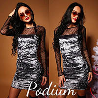 Бархатное платье с рукавами из сетки 2203641