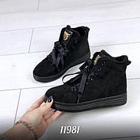Зимние женские черные ботиночки экозамш на шнуровке