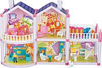 Игрушечный кукольный детский домик, 2 этажа, 127 деталей