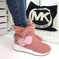 Зимние женские розовые ботинки эко-нубук