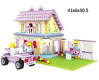 """Конструктор для девочки  AUSINI 24704  """"Страна чудес двухэтажный домик с машиной"""" 440 деталей в коробке 41*31*6 см."""
