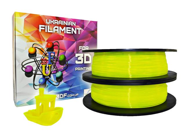 Желтый флюр PLA пластик для 3D печати (1,75 мм/0,5 кг), фото 2