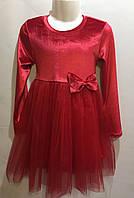 Платье велюр с бантом  р. 98-128