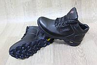 Мужские черные ботинки на меху из натуральной кожи