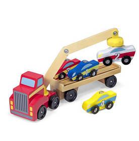 Магнитный деревянный автопогрузчик /Magnetic Car Loader (автопогрузчик + 4 деревянные машинки) ТМ Melissa & Doug MD19390