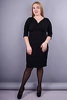 Виагра. Элегантное женское платье плюс сайз. Черный. 50