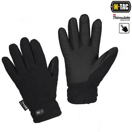 Перчатки зимние Fleece Thinsulate чёрные, фото 2