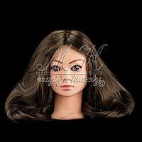 Голова-манекен для причесок, укладок и плетения, PROFI №108, 80% натуральный волос, шатен