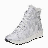 Женские зимние кожаные белые ботинки кроссовки с шнурками на термопластичной подошве