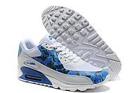 Мужские кроссовки Nike air max 90 Huperfuse Хаки синие с белым