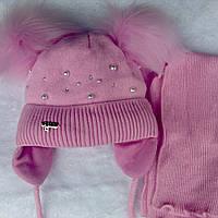 Зимняя шапка с шарфом для девочки