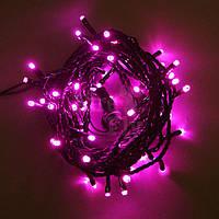 Новогодняя светодиодная гирлянда 100 LED розовая 8 м для дома и улицы на черном проводе