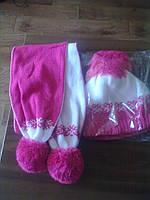 Зимняя шапка на девочку с шарфом
