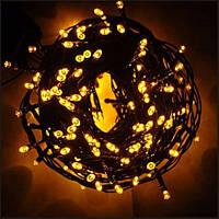 Новорічна світлодіодна гірлянда 200 LED жовта 16 м для будинку і вулиці Жовтий на чорному проводі