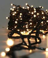 Новогодняя светодиодная гирлянда 100 LED белая теплая 8 м для дома и улицы на черном проводе