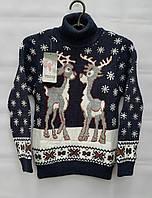 Детский свитер с оленями для девочек 122,128,134,140 роста Синий