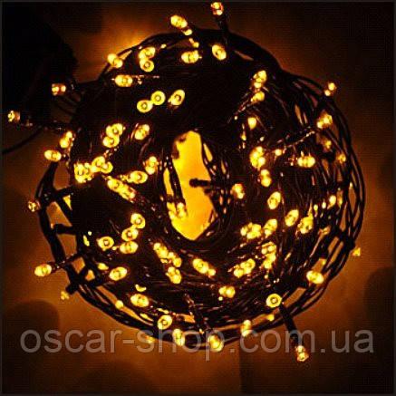 Новогодняя светодиодная гирлянда 100 LED желтая 8 м для дома и улицы Желтая на черном проводе