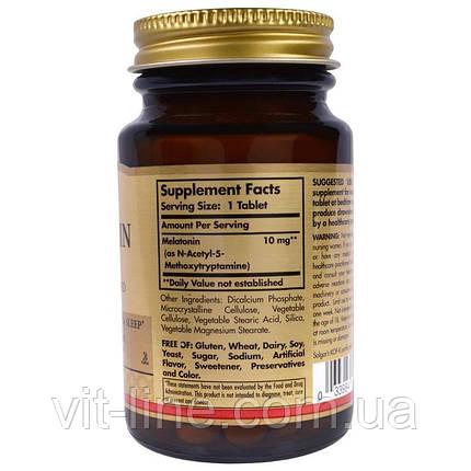 Solgar, Мелатонин, 10 мг, 60 таблеток, фото 2