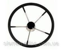 Штурвал, нерж. сталь с черным мягким покрытием, Ø390 мм